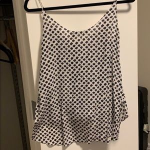 Theory twist front silk top. Blue and white dots